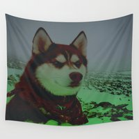 husky Wall Tapestries featuring Red Husky by Brennan Gallegos