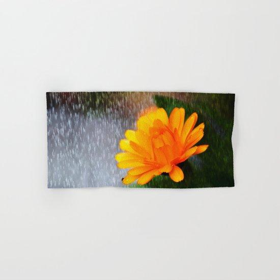 Golden flower on a rainy day Hand & Bath Towel