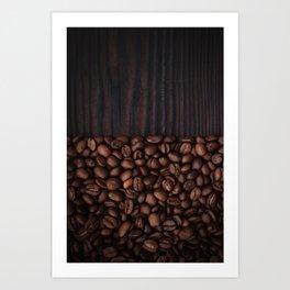 Coffee beans on dark wood background Art Print