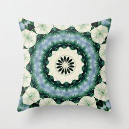 Cerulean Blue and Sacramento Green Mandala Throw Pillow