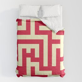 Cream Yellow and Crimson Red Labyrinth Comforters