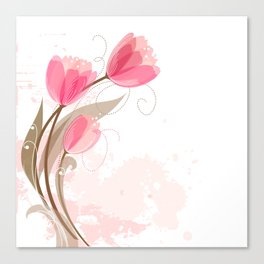 Abstract Pink Watercolor Tulips Canvas Print