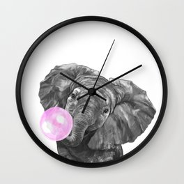 Bubble Gum Elephant Black and White Wall Clock