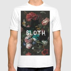 sloth White Mens Fitted Tee MEDIUM