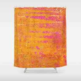 Orange & Hot Pink Abstract Art Collage Shower Curtain