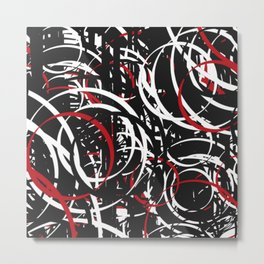 Black Red and White Bold Circle Design Abstract Metal Print