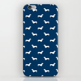 Dachshund pattern minimal navy blue and white dog lover home decor gifts accessories silhouette iPhone Skin