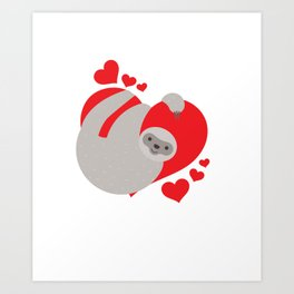 Cute and Adorable Valentines Day Sloth Art Print