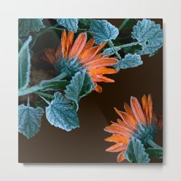 Frozen Orange Flowers on Dark Background #decor #society6 #buyart Metal Print