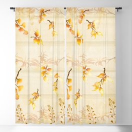 Autumn Leaves in Watercolor Blackout Curtain