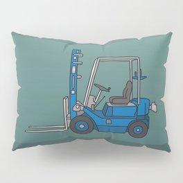 Blue fork-lift truck Pillow Sham