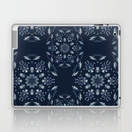 Indigo Blue Flower Mandala Hand Drawn Boho Laptop & iPad Skin
