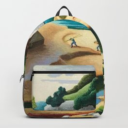 Classical Masterpiece 'Swimming Hole in American West' by Thomas Hart Benton Backpack