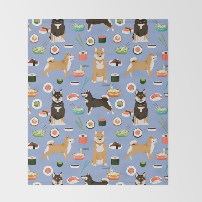 Shiba Inu noodles pho food cute dog art sushi dogs pet portrait pattern Throw Blanket