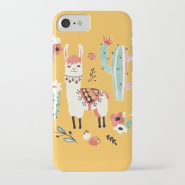 White Llama with flowers iPhone Case