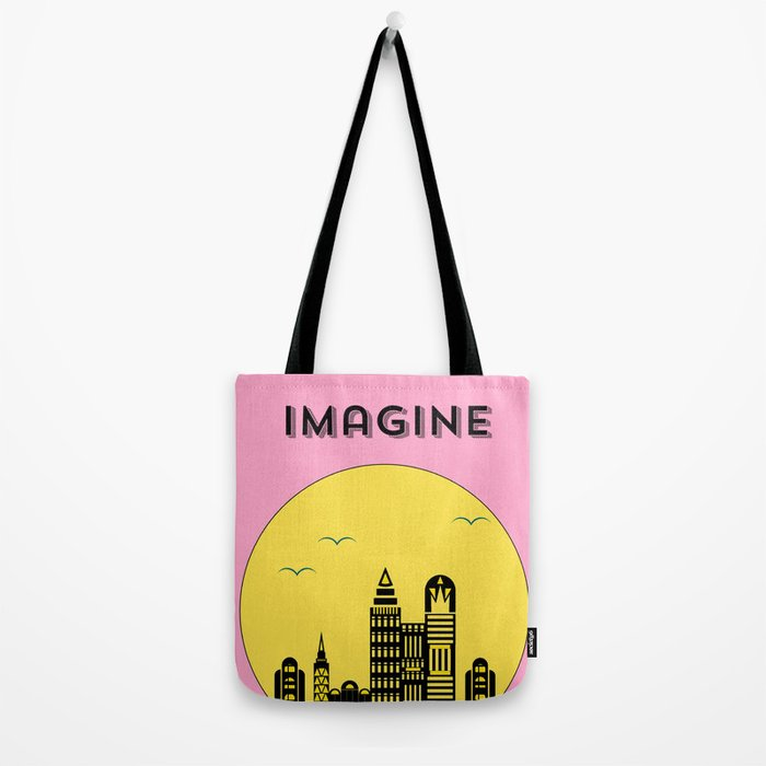 The Imaginary City (pink) Tote Bag