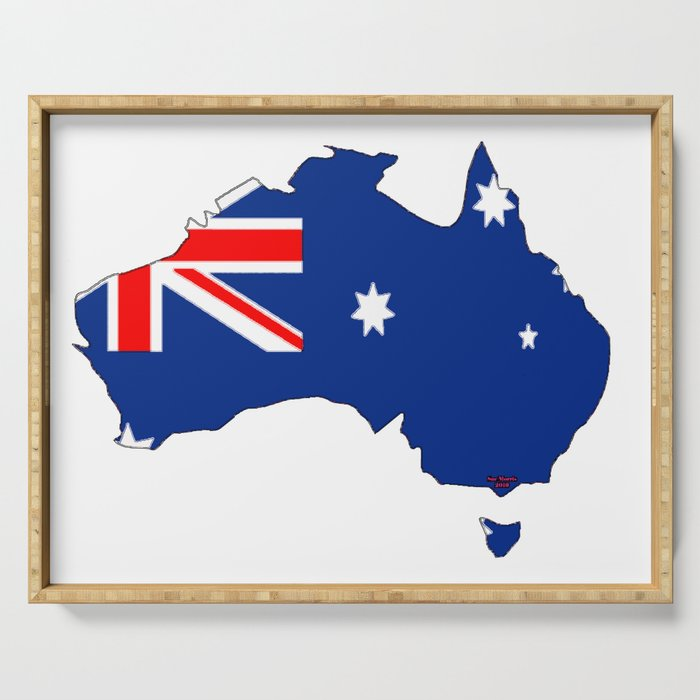 Australia Map With Flag.Australia Map With Australian Flag Serving Tray By Havocgirl