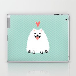 Fluffy White Pomeranian with Heart Laptop & iPad Skin