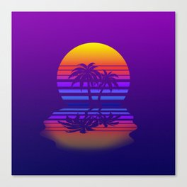 Synthwave Space #15: Twilight horizon (pixelart) Canvas Print