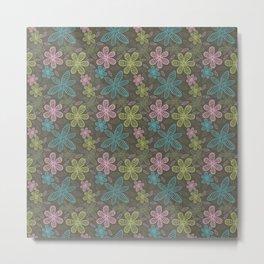 Lined flowers pattern Metal Print