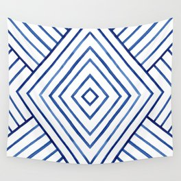 Watercolor lines pattern | Navy blue Wall Tapestry