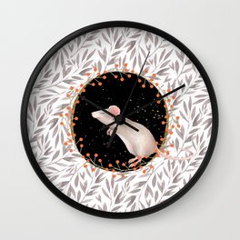 Beautiful nosey Mouse with flower background- Animal - mice - flowers Wall Clock