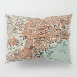 Vintage Map of Naples Italy (1911) Pillow Sham