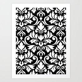 Flourish Damask Big Ptn White on Black Art Print