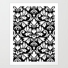 Flourish Damask Big Ptn White on Black Art Print