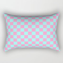 Pink and Blue Checkerboard Rectangular Pillow