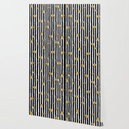 Gold Glitter Hearts Black and White Stripes Wallpaper
