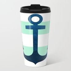Anchor on Mint Stripes Metal Travel Mug