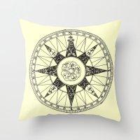compass Throw Pillows featuring Compass by Smokacinno