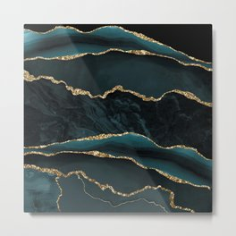 Teal And Gold Marble Waves Metal Print