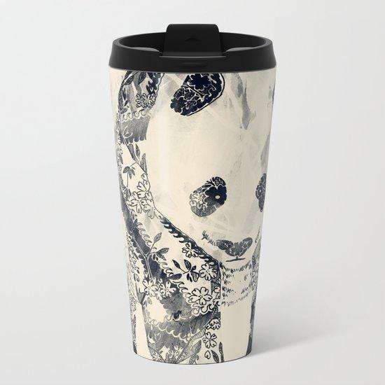 Tattooed Panda {cream} Metal Travel Mug