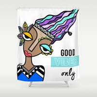 good vibes only Shower Curtains featuring Good vibes only by Andrea Silvestri