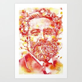 JULES VERNE - watercolor on paper Art Print