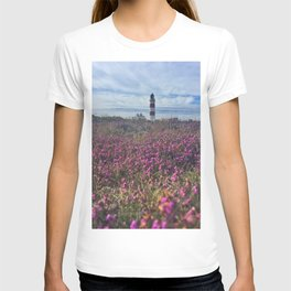 Lighthouse in field of heather T-shirt