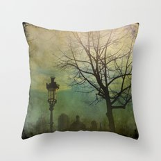 Once pon a time a park in Barcelona Throw Pillow