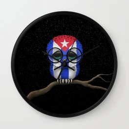 Baby Owl with Glasses and Cuban Flag Wall Clock