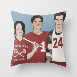 Scott McCall/Stiles Stilinski/Kira Yukimura Lacrosse Throw Pillow