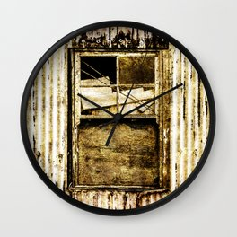 Window in a tin wall Wall Clock