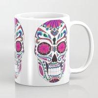 sugar skull Mugs featuring Sugar Skull by Laura Maxwell