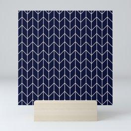 Chevron pattern -  white on dark blue Mini Art Print