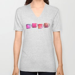 Coffee Mugs - Pink Colors Unisex V-Neck