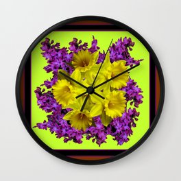 Chartreuse Design Daffodils Purple Hyacinths Brown Art Wall Clock