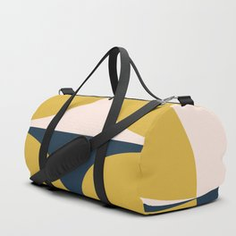 Atomic Age Neutra Half Pattern - Midcentury Modern Minimalism in Mustard, Pale Blush, and Blue Duffle Bag