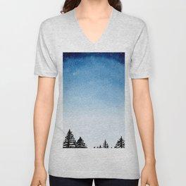 Night Sky Indigo Watercolor Unisex V-Neck