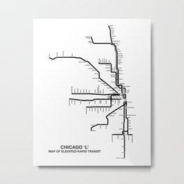 Chicago Transit Map Metal Print