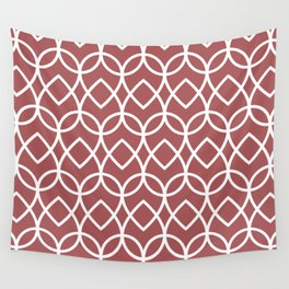 Red and White Geometric Line Pattern Teardrop 2022 Color Trends Behr Lingonberry Punch M150-6 Wall Tapestry